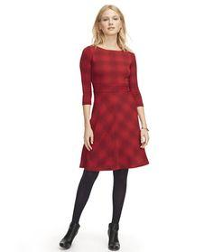 Women's Signature Ponte Dress, Three-Quarter-Sleeve Plaid   Free Shipping at L.L.Bean