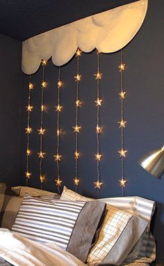 Stars and clouds headboard. Be helpful as a night light for kids