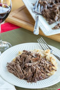 Slow Cooker Cranberry Balsamic Beef - just four ingredients in this easy slow…