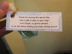 "Baby Sprinkle ""Thank You"" Gift Saying on mini hand sanitizer"