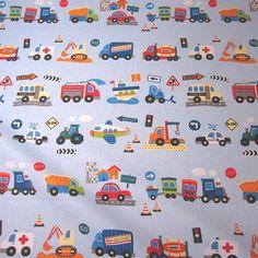 Kinderstoffe - Stoff Baumwolle hellblau Autos Traktor Bagger Neu - ein Designerstück von werthers-stoffe bei DaWanda