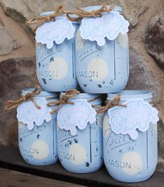 Painted Mason Jars with Baby Boy Rattle Tag Baby by charmcitycharm
