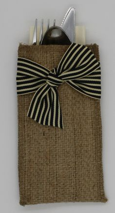 Burlap Silverware Holders - Striped Burlap Ribbons – Cutlery Couture