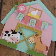 farm birthday by lizabitsdesigns on Etsy Party Animals, Farm Animal Party, Farm Animal Birthday, Barnyard Party, Farm Birthday, Farm Party, 3rd Birthday Parties, Card Invitation, Shower Invitations