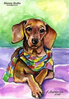 ORG Art Dachshund Dog Colorful Scarf Watercolor by ES   eBay
