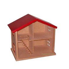 Ruim houten poppenhuis met rood dak. Een vaste trap naar boven èn ballustrade, diverse ramen maken het een mooi geheel.