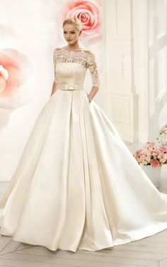 Ball Gown ,Floor-Length, Off-The-Shoulder, Half-Sleeve, Illusion ,Satin Dress With Lace,sexy , Evening Gowns, 2018 new fashion ,Prom Dresses