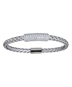 Look at this Cubic Zirconia & Sterling Silver Italian Mesh Bracelet on #zulily today!