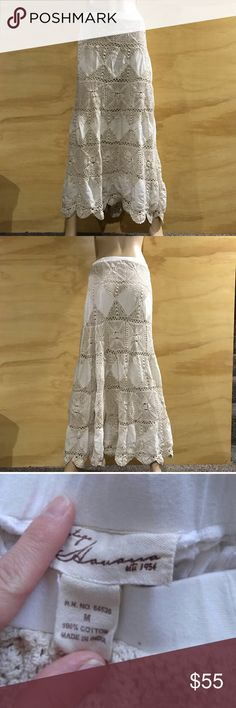 """Boho Crochet Fully Lined Maxi Skirt. B8 Looks like it could be handmade but it's not. Fully Lined.  100% cotton.  Length:  39"""" from waist to hem Waist:  29""""  Defects: faint tiny discoloration pictured, not noticeable when wearing Condition: Great   Mannequin  Waist 24.5"""" Hips 36.5""""  Smoke free home with cats and dogs. Vintage Havana Skirts Maxi"""