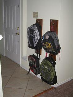 Ideas for diy bag hanger hooks entryway - DIY BAGS Backpack Wall, Backpack Hooks, Backpack Storage, Backpack Organization, Diy Backpack, Kid Organization, Diy Bags Hanger, Hanger Hooks, Broken Dresser