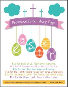 Free christian easter story egg printable poem for preschool ages resurrection eggs, egg hunt Preschool Bible, Preschool Age, Preschool Easter Crafts, Kids Bible, Preschool Projects, Daycare Crafts, Preschool Ideas, Easter Speeches, Easter Poems