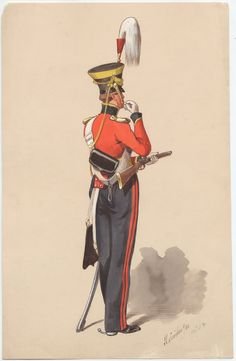 14th King's Light Dragoons, Trooper 1832 by Richard Simkin. During the reign of William IV(reigned 1830-37) all cavalry regiments were dressed in red, even the hussars wore red pelisses. William's obsession with red being the identifying colour for British forces even extended to the Royal Navy  whose facings during his reign became red rather than the more usual white.