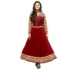 Deals and Offers on Women Clothing - Stutti Fashion Unstitched Georgette Embroidered Dress Material at 61% offer