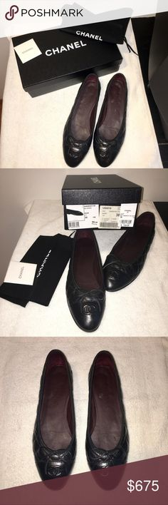 CHANEL BLACK BALLERINA FLATS SIZE 38 LEATHER. QUILTED. WITH BOX AND DUST BAG. RESOLED. WORN. CHANEL Shoes Flats & Loafers
