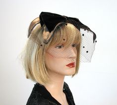 Vintage Whimsy Hat, Brown Velvet Bow Veil 60s Topper Fascinator, Free USA shipping by MorningGlorious on Etsy