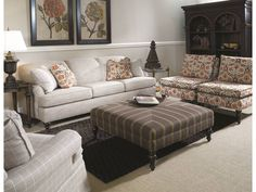 Paxton Sofa, Margarete Chair on right, & Emory Ottoman.  All by Clayton Marcus.