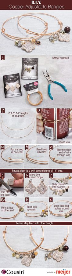 Get crafty and make these simple DIY bangles as a way to celebrate #NationalCraftMonth. Perfect to give as gifts or keep for yourself! - women jewelry for sale, semi precious stone jewellery, imitation jewelry *sponsored https://www.pinterest.com/jewelry_yes/ https://www.pinterest.com/explore/jewelry/ https://www.pinterest.com/jewelry_yes/rose-gold-jewelry/ https://www.madewell.com/madewell_category/JEWELRY.jsp