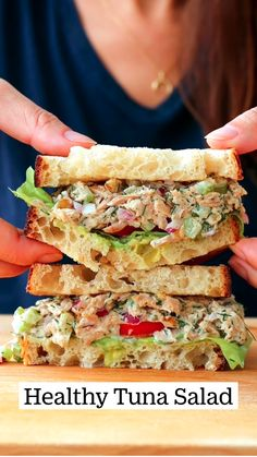 Healthy Sandwich Recipes, Healthy Sandwiches, Tuna Recipes, Healthy Dinner Recipes, Healthy Snacks, Vegetarian Recipes, Cooking Recipes, Sandwich Ideas, Recipes