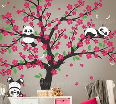 Cherry Blossom murali Pandas Sticker giocoso in Cherry Blossom