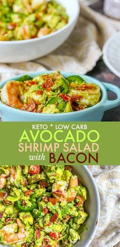 This keto avocado shrimp salad with bacon is so decadent and delicious. It's like guacamole and shrimp got together with a blt, but then there is blue cheese in there too! This delicious keto…More Easy Low Carb Salad Recipes Shrimp Avocado Salad, Keto Avocado, Avocado Recipes, Avocado Guacamole, Bacon Salad, Seafood Salad, Avocado Oil, Keto Shrimp Recipes, Diet Recipes