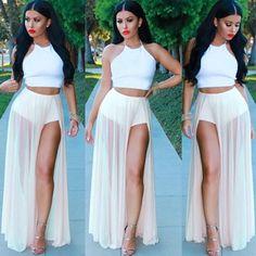 White Plain Sleeveless Crop Top And High Waisted Slit Maxi Skirt