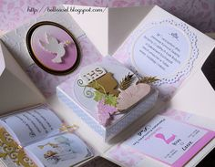 First Communion exploding box handcrafted cards, kartka Komunia Święta