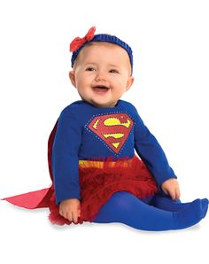 Supergirl Caped Dress Baby Costume exclusively at Spirit Halloween - Your little girl will steal all the attention when she swoops into the room wearing this officially licensed Supergirl Caped Dress Baby Costume. Caped dress features supergirl logo and comes complete with matching headband and stockings. Make this yours for $24.99.