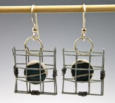 © 2014 Ann Lindell Ceramics | Captured Tile Earrings | Layered porcelain, sgrafitto, clear glaze, ^6 Oxidation, steel hardware cloth, iron wire, silver findings