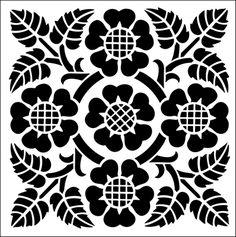 Tile No 15 stencil from The Stencil Library ARTS AND CRAFTS range. Buy stencils online. Stencil code DE102.