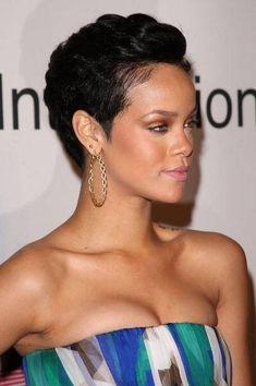 Rihanna-short hair-short hair cuts for women-short hair styles-short hair cuts- natural hair- jet black- pixie cut-red carpet Short Weave Hairstyles, Rihanna Hairstyles, Cute Short Haircuts, Pixie Hairstyles, Short Hairstyles For Women, Black Hairstyles, American Hairstyles, Bob Haircuts, Children Hairstyles