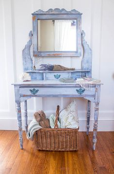 An English Dressing Table Named Gemma. Painted with Miss Mustard Seed Dried Lavender/ Ironstone paint