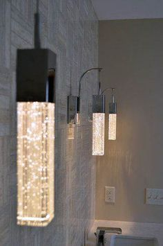 In a small bathroom it could be highlight. classic luxury bathroom lights - something like this in a pendant light would be neat Interior Lighting, Home Lighting, Lighting Design, Lighting Ideas, Luxury Lighting, Lighting In Bedroom, Luminaire Design, Light Fittings, Beautiful Bathrooms