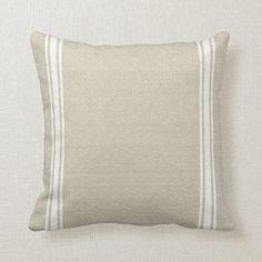 Grainsack with Three White Stripes Cushion | Zazzle.com.au Striped Cushions, Throw Cushions, Bed Pillows, Grainsack, Custom Cushions, Personalised Blankets, Feed Sacks, Nursery Inspiration, Custom Clothes