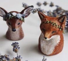 Diy jewelry paper papier mache 42+ Trendy ideas Fimo Polymer Clay, Polymer Clay Sculptures, Polymer Clay Animals, Polymer Clay Creations, Sculpture Clay, Clay Fox, Clay Figurine, Paperclay, Animal Sculptures