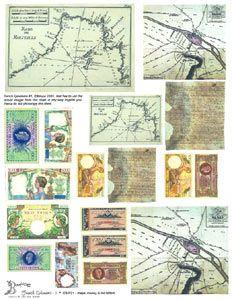 French Ephemera   French Ephemera #1 - Maps, Money & Old Letters Collage Sheets