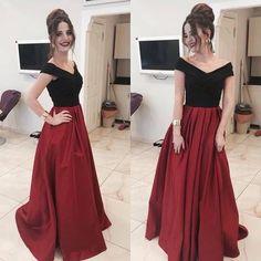Elegant off the shoulder black and red long prom dress