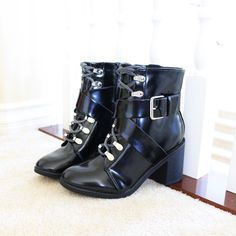b610e7ead2a Edge Patent Buckl Strap Lace up High Heel Booties Boots Black