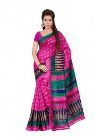 Shonaya Pink,Green & Blue Colour Bhagalpuri Silk Printed Saree With Unstitched Blouse Piece