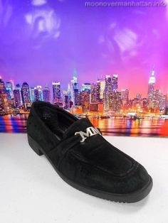 Womens shoes DISNEY Mickey Mouse MM black suede drivers loafers moccasins sz 8 M