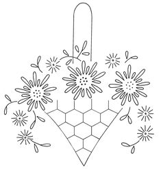 Vintage embroidery pattern -- like the honey comb pattern for the basket just need to add a bee.