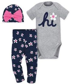 """The Gerber Onesies Daisy Bodysuit, Pant and Hat Set is a sweet trio she can wear together or with other looks in her wardrobe. Made of soft cotton, this set includes a heathered """"Hi"""" bodysuit, floral pants and a cute bow-trimmed hat. Gerber Baby, Baby Tutu, Baby Girl Newborn, Baby Girls, Baby Boy, Baby Onesie, Pyjamas, Kids Pajamas, Baby Girl Outfits"""
