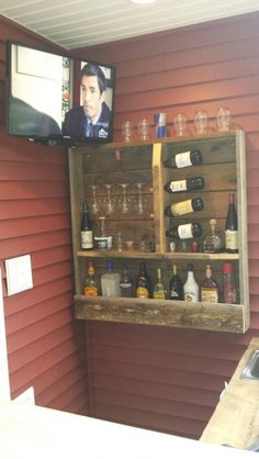 Rustic outdoor bar liquor/wine rack!