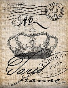 Antique Paris French Crown No 2 Postmarks Fancy Ornate Handwriting Digital Download for Papercrafts, Transfer, Pillows, etc Burlap No 3755: