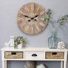 Farmhouse Clocks, Home Clock, Modern Farmhouse Design, Modern Rustic Decor, Wood Clocks, Rustic Clocks, Antique Clocks, Rustic Walls, Wood Veneer