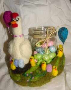 Spring Hen and Chicks by Pieceofourminds on Etsy, $60.00