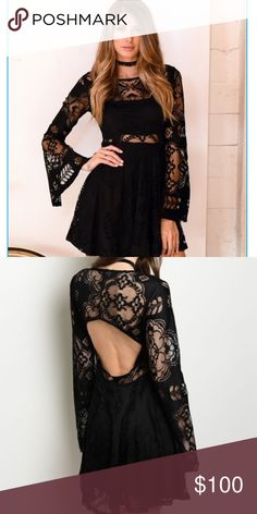 WAS 48.00LACE IT IT BLACK DRESS ❌CLOSET CLOSING ❌❌PRICE FIRM NO OFFERS EXCEPTED ON FINAL CLEARANCE ❌⚜️NEW ARRIVAL ⚜️LACE IT IS DRESS. DRES PARTIALLY LINED. BACK CUT OUT.  LACE SEE THROUGH LONG BELL SLEEVES. FIT AND FLARE SILHOUETTE. PERFECT FOR THE HOLIDAYS. 96% POLYESTER 4% SPANDEX. boutique Dresses Mini