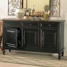 dining room sideboard- I need this in my dining room! Kitchen Buffet Table, Dining Room Sideboard, Console Table, Sideboard Buffet, Farmhouse Buffet, Black Sideboard, Buffet Tables, Sofa Tables, Entryway Tables