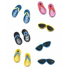 small quilled flip flops and sunglasses