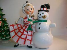 Vintage Relpo Christmas Girl with Snowman Planter Mid-Century Japan - Rare