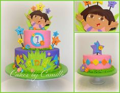 Dora cake 1st birthday. Dora the explorer cake.